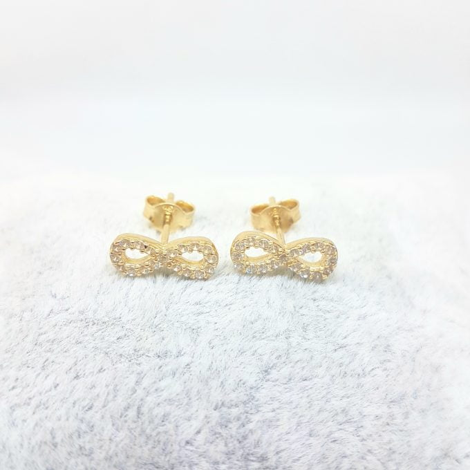 14K Real Solid Gold Infinity Stud Earrings for Women Decorated with Zirconia Stones