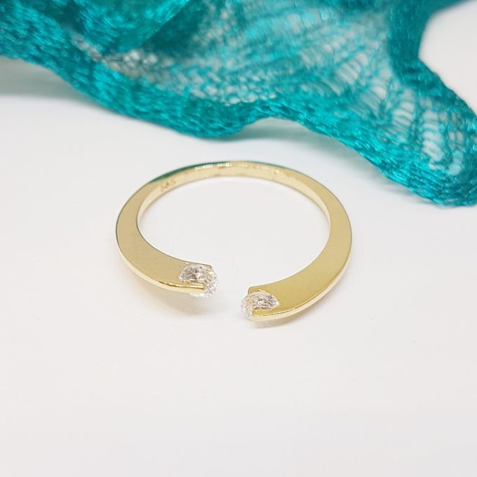 14K Real Solid Yellow Gold Open Separate Ring with White Zirconia Stones Simple Dainty For Women