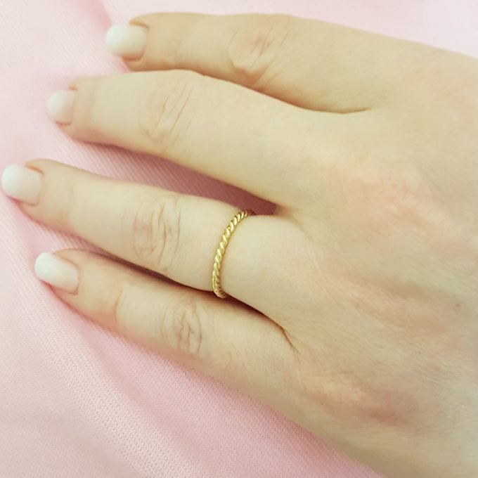 14K Real Solid Yellow Gold Thin Rope Midi Ring Simple Dainty Wire Finger Stacking Knuckle Comfort Fit For Women
