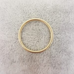 14K Real Yellow Gold Thin Plain Band Polished Midi Women's Wedding Ring Simple Dainty Wire Finger Stacking Knuckle Comfort Fit For Women
