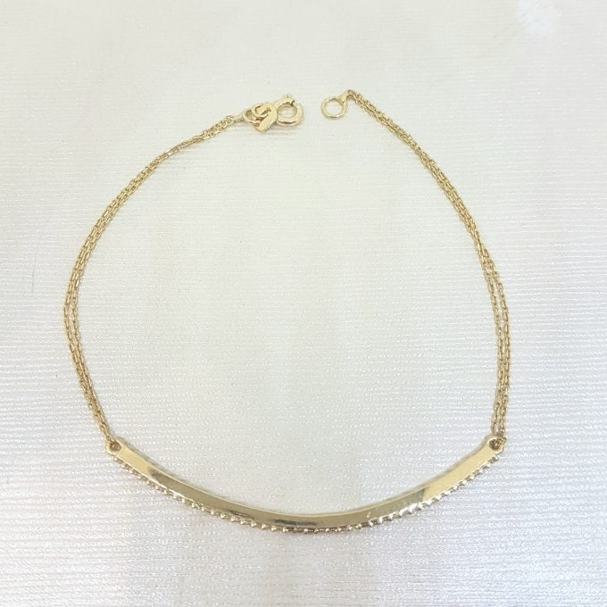 14K Real Solid Yellow Gold Tennis Bracelet Cambered Oval Shape with White Zirconia Stones for Women
