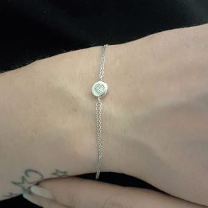 Round Bezel Bracelet with Zirconia Stone 14K White Solid Gold Charm Dainty Jewelry for Women