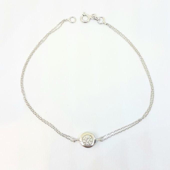 Round Bezel Bracelet with Zirconia Stone 14K White Solid Gold Charm Dainty Jewelry for Women