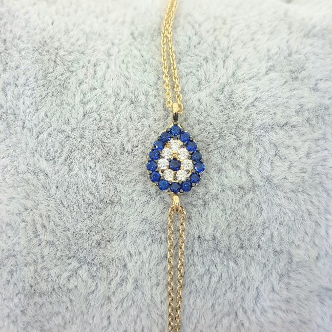 Evil Eye 14K Solid Gold Eye Drop Design with Navy Blue and White Zirconia Stones Tiny, Dainty,Delicate and Trendy Bracelet best gift for women