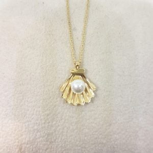 14K Real Solid Gold Seashell Design Decoreted with Pearl Charm Cute Dainty Delicate Trendy Pendant Necklace Best Birthday Gift for Women Jewelry Girlfriend Hawaii Beach Shell