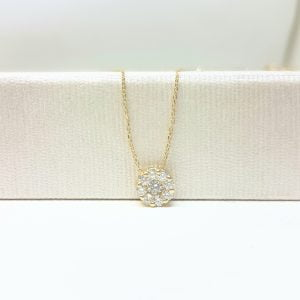 14K Gold Sun Sunflower Round Circle Disc Flower with Zirconia Stones Cute Charm Tiny Dainty Delicate Trendy Pendant Necklace best birthday gift for Women Jewelry girlfriend mom