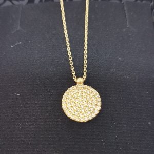 14K Real Solid Gold Round Circle Disc Design Decorated with Zirconia Stones Charm Dainty Delicate Elegant Trendy Pendant Necklace Best Birthday gift for Women Jewelry Girlfriend Mother Wife