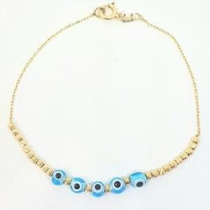 Evil Eye Beaded Bracelet with Italian Balls for Kids Teen Girls 14K Gold Real Solid Lucky Luck Nazar Protection Birthday Gift