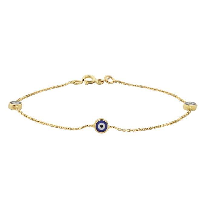 14K real Solid Gold Navy Blue or Turquoise Triple Evil Eye Bracelet For Women