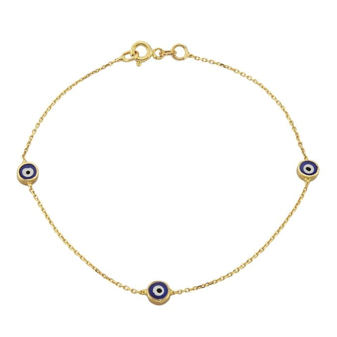Evil Eye Bracelet Triple Lucky Luck Nazar Protection For Women Jewelry 14K Yellow Gold Charm Dainty Navy Blue or Turquoise handmade turkish greek birthday gift