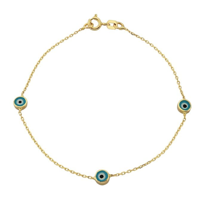 Evil Eye Bracelet Triple Lucky Luck Nazar Protection For Women Jewelry 14K Yellow Gold Charm Dainty Navy Blue or Turquoise turkish christmas dainty xmas girl her