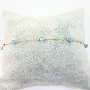 Evil Eye Bracelet with Italian Balls for Kids Teen Girls 14K Gold Real Solid Lucky Luck Nazar Protection Birthday Gift