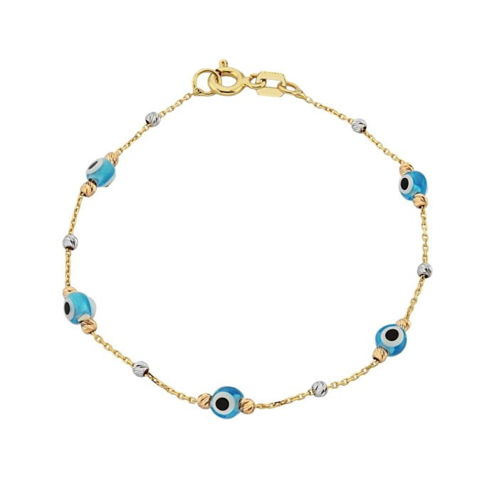 Evil Eye Bracelet with Italian Balls for Kids Teen Girls 14K Gold Real Solid Lucky Luck Nazar Protection Birthday Gift turkish greek hamsa nazar protection jewelry dainty blue good luck lucky