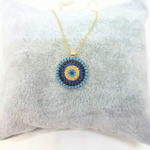 14K Real Gold Round Circle Evil Eye Design with Zirconia Stones Charm Dainty Elegant Delicate Trendy Pendant Necklace best birthday gift for women jewelry girlfriend mom sun sunflower turquoise