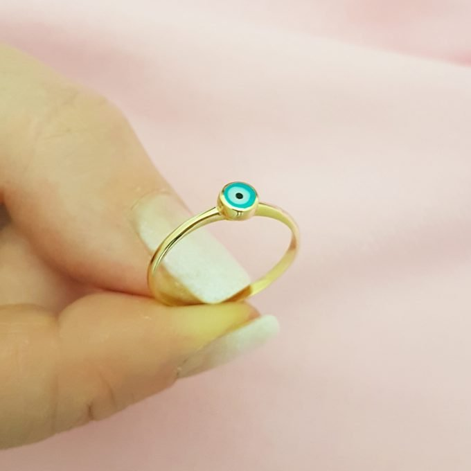 Evil Eye Ring Lucky Luck Nazar Protection For Women Jewelry 14K Yellow Gold Turquoise or Navy Blue