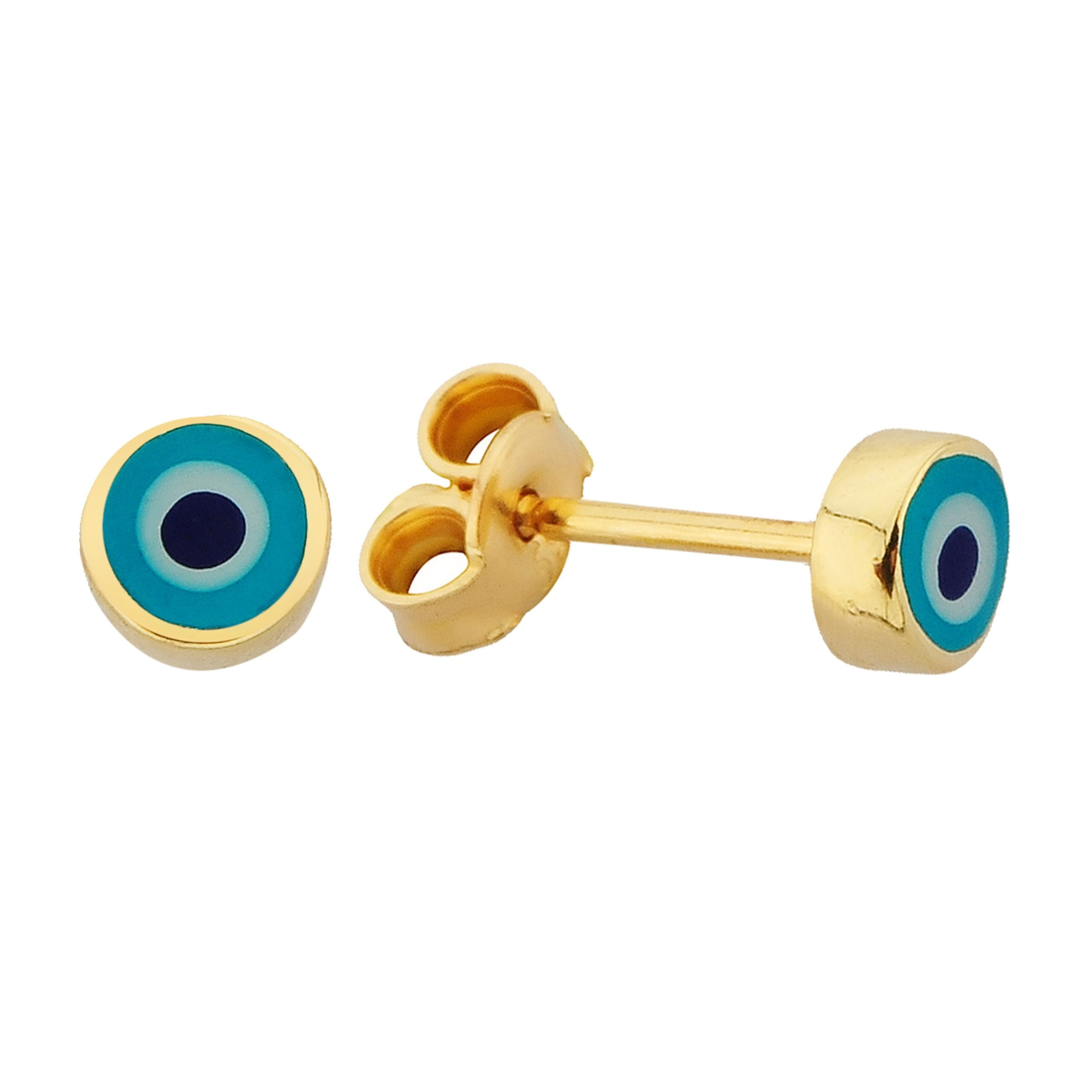 Eye Stud Earrings Lucky Luck Nazar Protection For Women Jewelry 14K Yellow Gold Tiny Charm Dainty Turquoise or Navy Blue Brithday gift christmas turkish nazar protection greek luck good luck