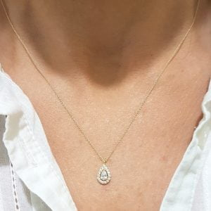 14K Real Solid Gold TearDrop Design with Halo White Zirconia Stones Charm Cute Tiny Elegant Dainty Delicate Trendy Pendant Necklace Best Birthday Gift for Women Jewelry