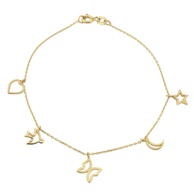 14K Real Solid Gold Good Luck Lucky Charm Bracelet for Women with Butterfly Star Moon Heart Swallow Pieces , Charm Bracelet Gold