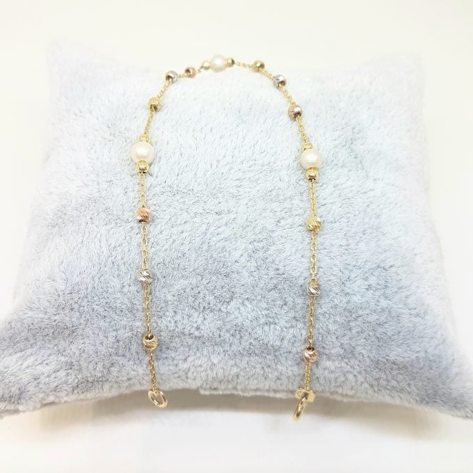 14K Real Solid Gold Bracelet Beaded Pearls and Italian Balls Design Best Birthday Gift for Women Mother Wife Girlfriend