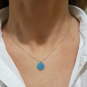 14K Real Solid Gold Round Circle Disc Design Decorated with Turquoise Zirconia Stones Dainty Delicate Charm Trendy Pendant Necklace best birthday gift for women jewelry girlfriend mom