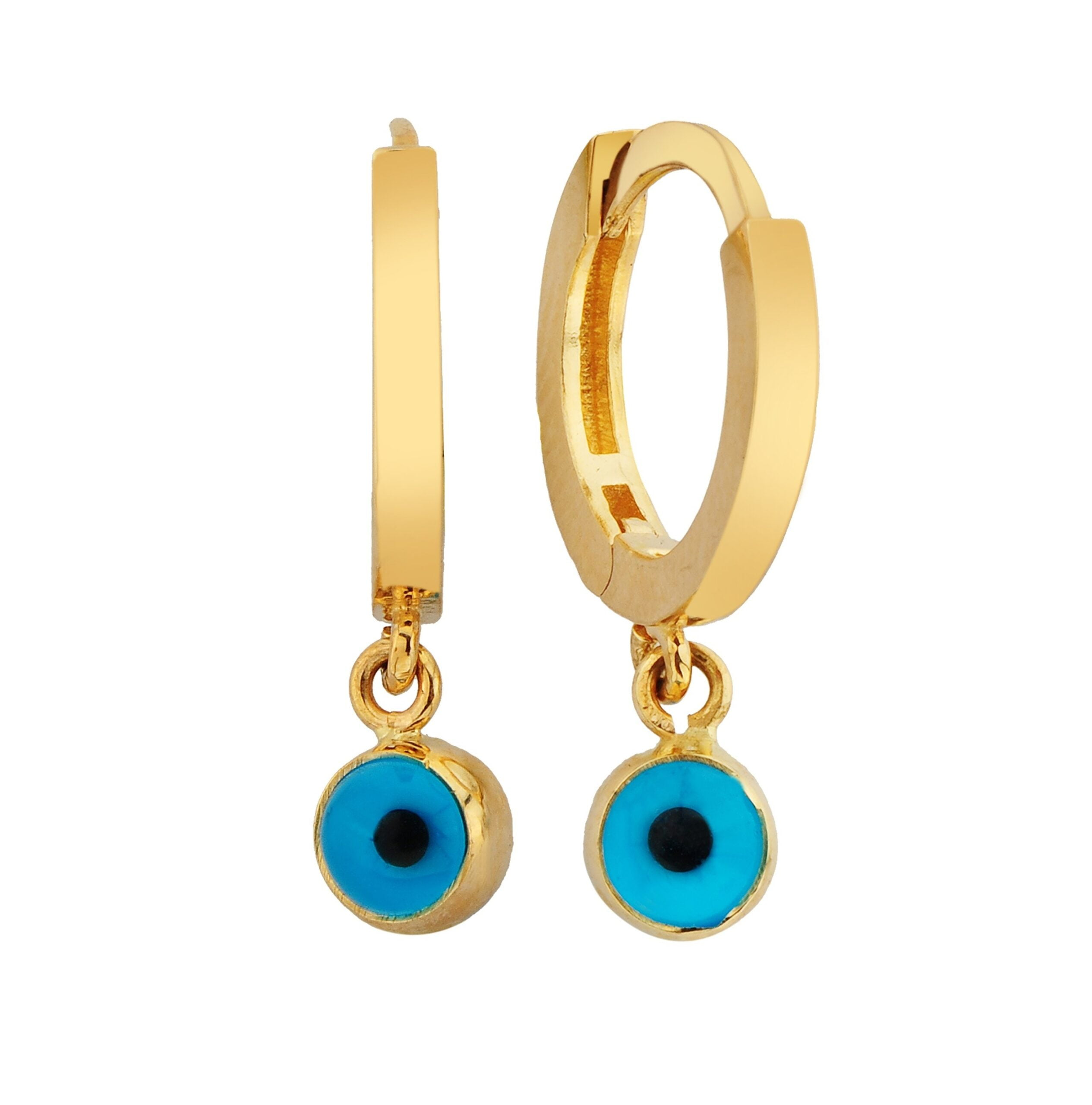 Lucky Eye Turkish Evil Eye Drop Earrings | Charms Hanging Dangle Earrings for Women | 14k Real Solid Gold Jewelry Gift Christmas Mother's Day Birthday Gift handmade