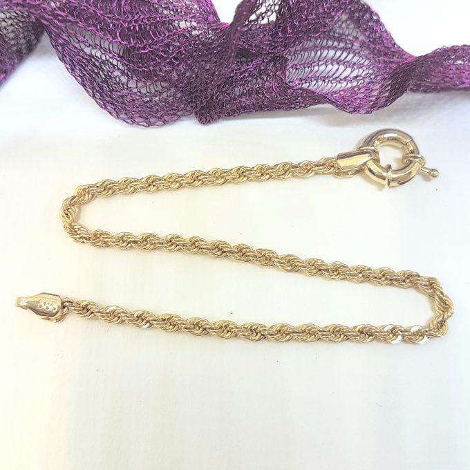 Rope Chain Bracelet for Women 14K Real Solid Yellow Gold 2.5mm Charm Dainty