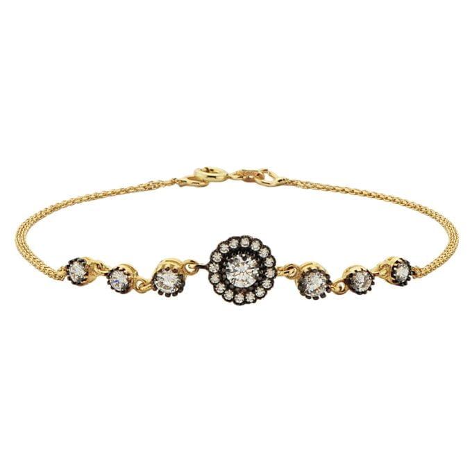 Round Halo Link Bracelet 14K Real Solid Yellow Gold Dainty Charm Diamond Style with Zirconia Stones for Women Bridesmaid Bracelets Wedding bridal