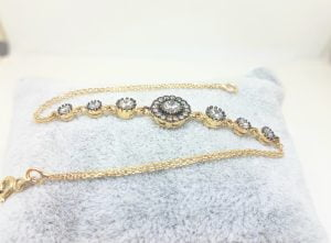 Round Halo Bracelet 14K Real Solid Yellow Gold Dainty Charm Diamond Style with Zirconia Stones for Women