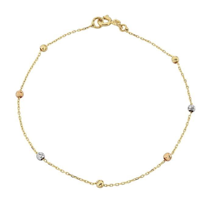 Single Row Chain Bracelet Beaded Italian Balls Charm Dainty Delicate Trendy Tiny Cute best birthday gift Women Jewelry girlfriend 14K Real Solid Gold christmas xmas her girl wife mother xmas