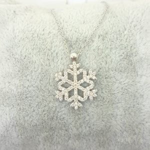 Snowflake necklace for women 14K real solid gold white gold rose gold