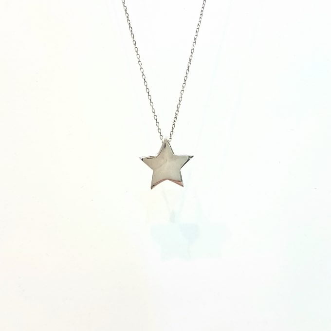 Star necklace pendant 14K solid gold for women length 16 20 inch star