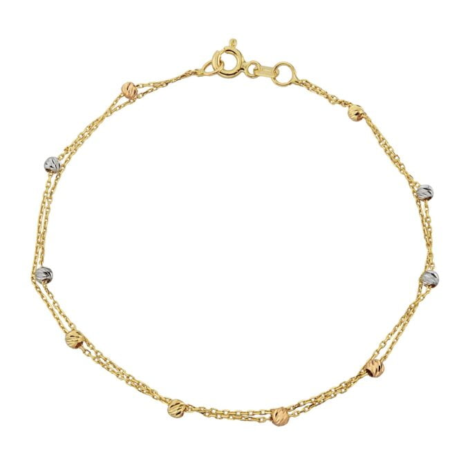 Two Rows Chain Beaded Italian Balls Charm Dainty Delicate Trendy Tiny Cute Handmade Bracelet birthday gift Women Jewelry girlfriend 14K Real Solid Gold christmas xmas her mother