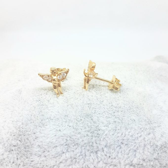 Angel Stud Earrings for Women and Girls 14K Real Solid Yellow Gold Decorated with White Zirconia Stones