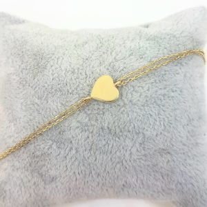 14K Solid Gold Heart Shape Design with White Zirconia Stones Tiny, Dainty,Delicate and Trendy Bracelet best gift for women,yourself, birthday