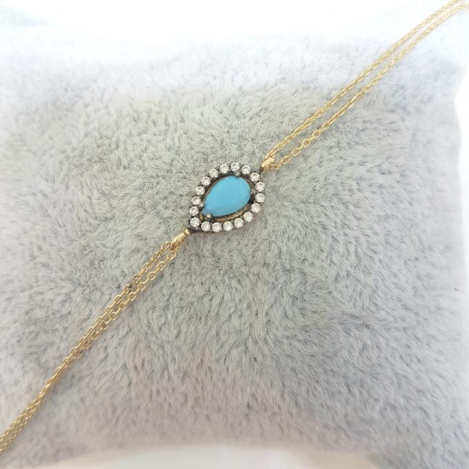 14K Real Solid Gold Tear Drop Design with Turquoise and White Zirconia Stones Halo Elegant Dainty Delicate Charm Cute Trendy Bracelet