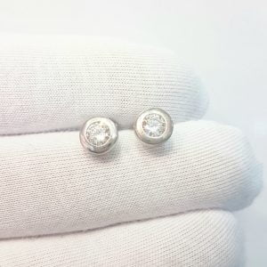 Round Bezel Stud Earrings with Zirconia Stone 14K White Solid Gold Charm Dainty Jewelry for Women