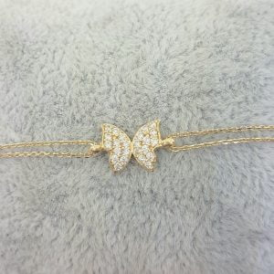 14K Real Solid Gold Butterfly Shape Design with White Zirconia Stones Tiny, Dainty,Delicate and Trendy Bracelet best gift for women,yourself, birthday