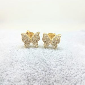 Butterfly Stud Earrings for Women 14K Real Solid Gold Cubic Zirconia Stones Best Birthday Gift