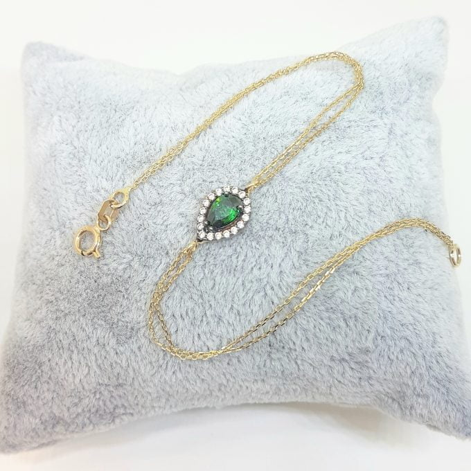 14K Real Solid Gold Tear Drop Design with GREEN and White Zirconia Stones Halo Elegant Dainty Delicate Charm Cute Trendy Bracelet best birthday gift for women Jewelry Mother Girl Grandma