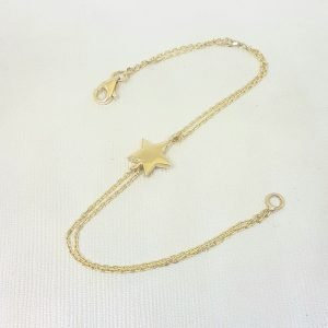 14K Real Solid Gold Star Design Bracelet Charm Cute Dainty Delicate Trendy Tiny Best Birthday Gift for Women Jewelry Mother