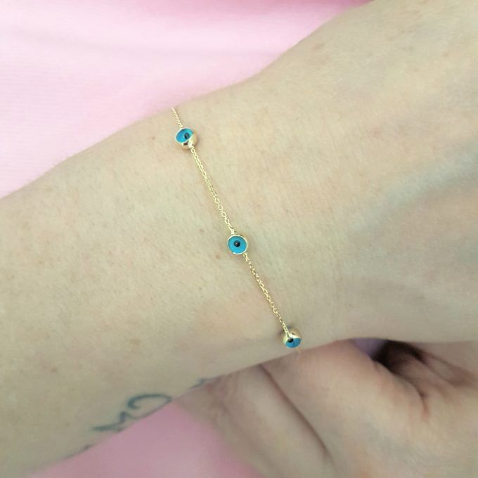 14K Real Solid Gold Two Sided Evil Eye Design Cute Tiny Dainty Delicate Elegant Trendy Bracelet best birthday gift for Women Jewelry yourself mom girls