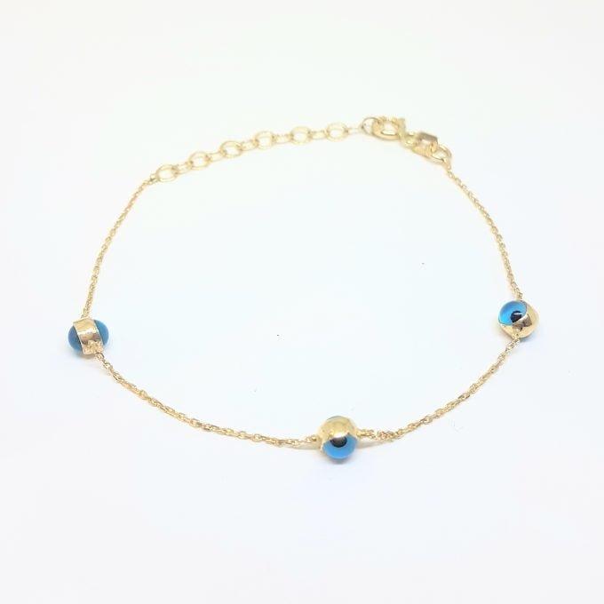 Two Sided Evil Eye Bracelet for Kids Teen Girls 14K Gold Real Solid Lucky Luck Nazar Protection Birthday Gift .jpg