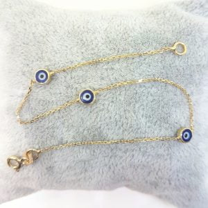 Evil Eye Bracelet Triple Lucky Luck Nazar Protection For Women Jewelry 14K Yellow Gold Charm Dainty Navy Blue or Turquoise
