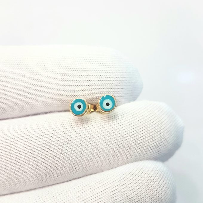 Evil Eye Stud Earrings Lucky Luck Nazar Protection For Women Jewelry 14K Yellow Gold Tiny Charm Dainty Turquoise or Navy Blue