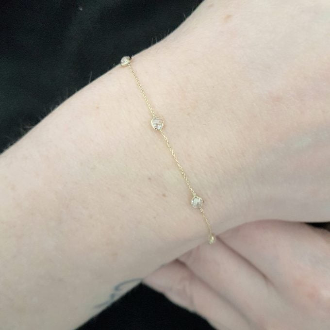 14K Real Solid Gold Decorated with White Zirconia Stones Design Cute Tiny Dainty Delicate and Trendy Bracelet best birthday gift for Women Mother Girls Jewelry yourself