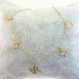 Good Luck Lucky Bracelet for Women 14K Real Solid Gold with Butterfly Star Moon Heart Swallow Pieces