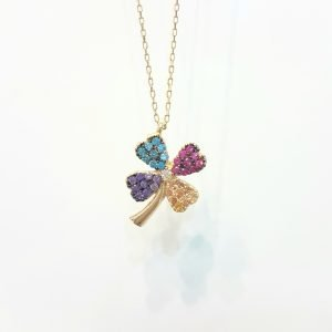 14K Real Gold Lucky Four Leaf Clover with Colorful Zirconia Stones Cute Dainty Charm, Delicate Elegant Trendy Pendant Necklace for Good Luck Birthday Gift Women Jewelry Lilac Purple Yellow Light Blue