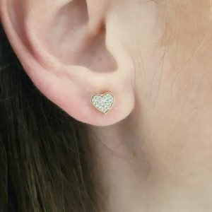 Heart Stud Earrings Decorated with Zirconia Stones for Women Girls 14K Real Solid Gold