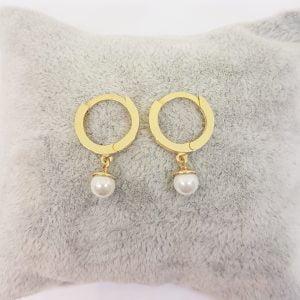 14K Gold Pearl Drop Earrings for Women