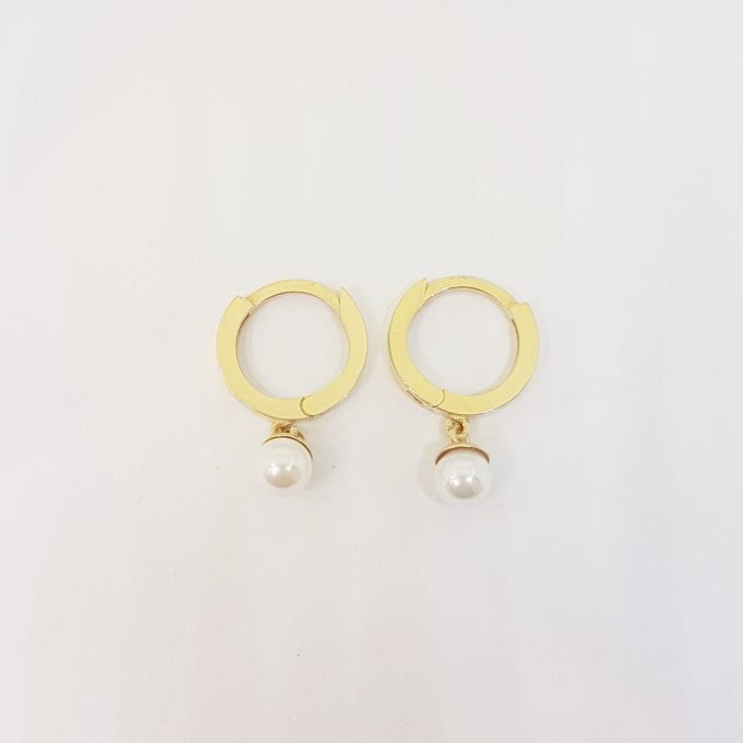 14K Gold Pearl Drop Earrings for Women